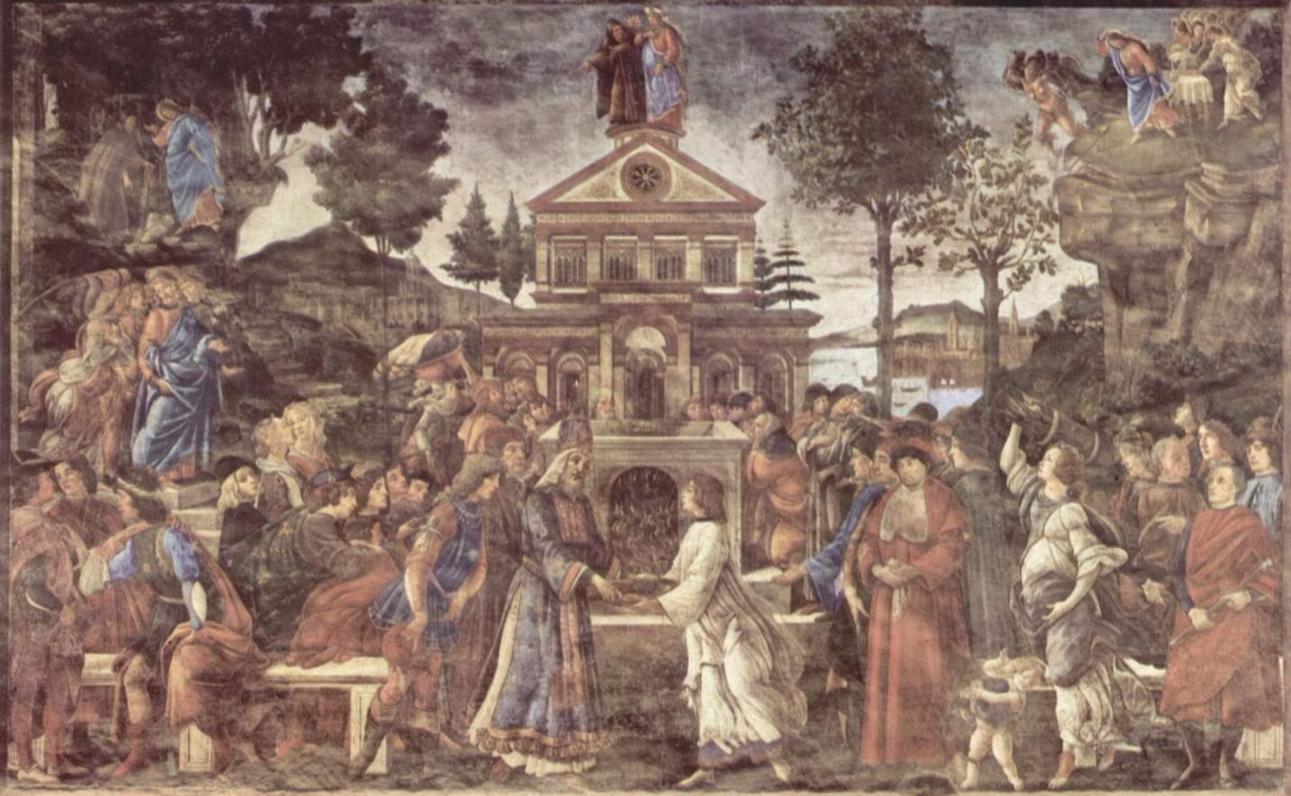 Сандро Боттичелли - Фрески Сикстинской капеллы в Риме, Искушение Христа