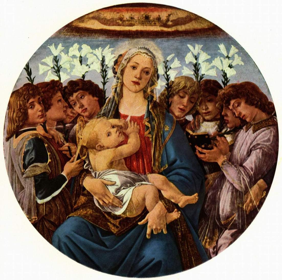 Сандро Боттичелли - Мадонна с восемью поющими ангелами (Берлинская Мадонна)